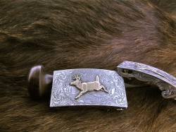 Gold Whitetail Deer Buckle