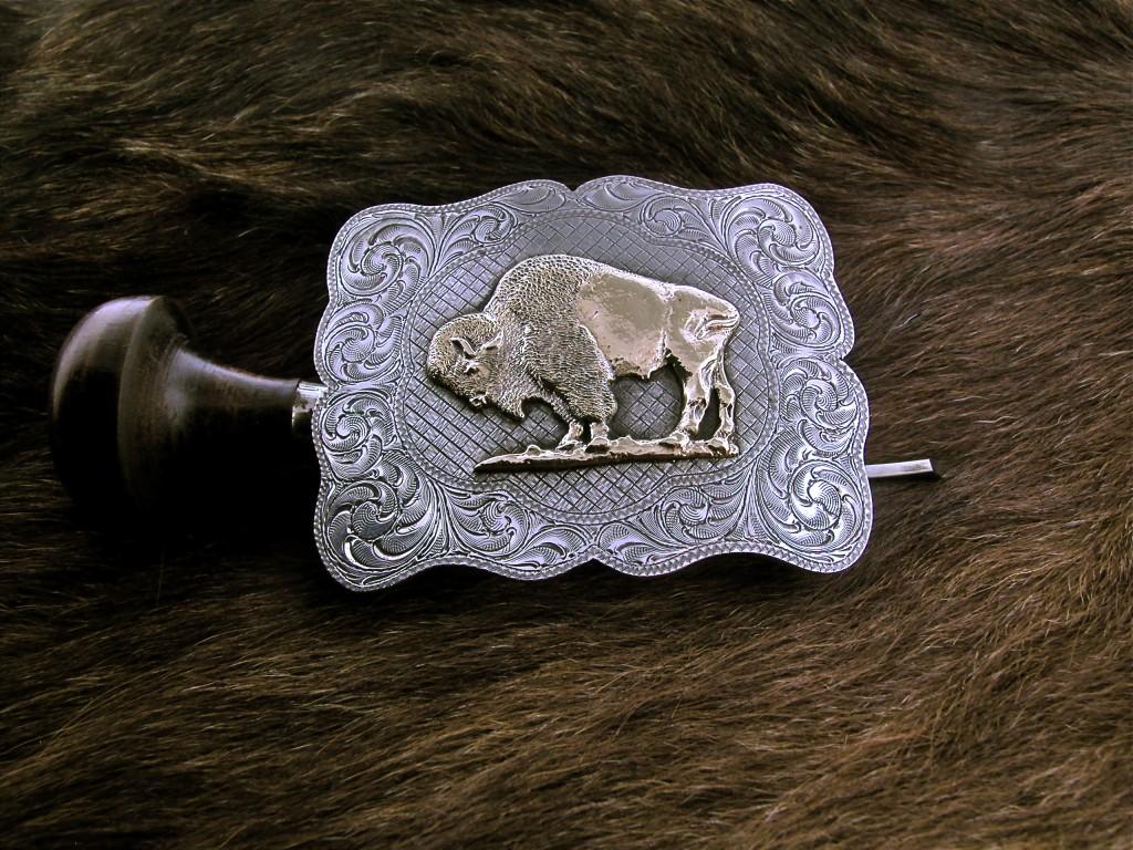 Scalloped Gold Buffalo Buckle